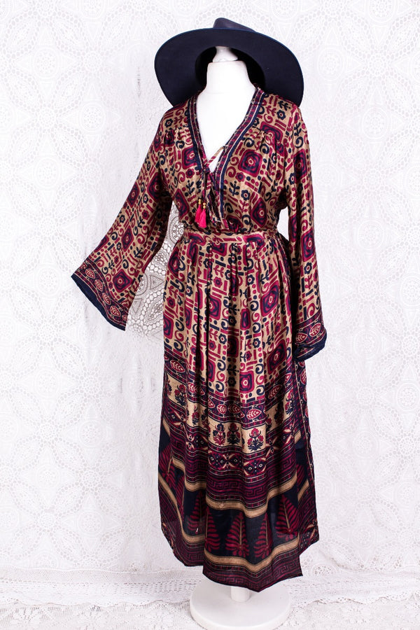 Gaia Kaftan Dress - Vintage Indian Sari - Navy, Gold & Deep Pink Floral - S/M
