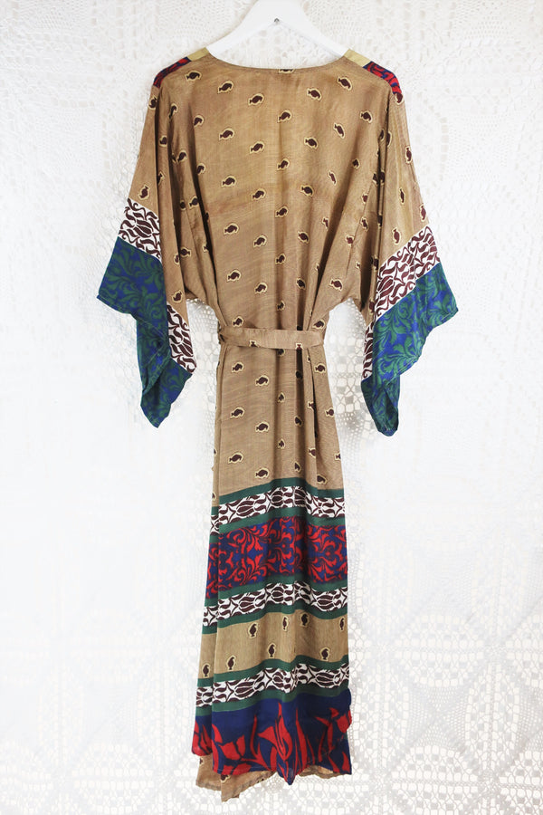 Aquaria Kimono Dress - Vintage Indian Sari - V Pattern Camel (S/M)