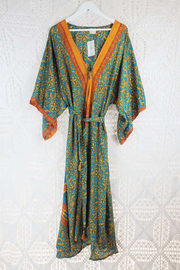 Aquaria Kimono Dress - Vintage Indian Sari - Bright Spring Blue & Gold (S/M)