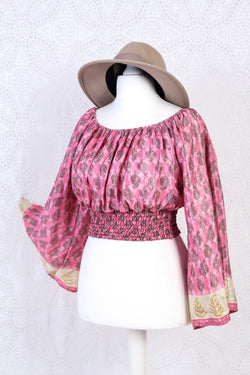 Scorpio Top - Vintage Indian Sari - Pink & Black Floral - Free Size