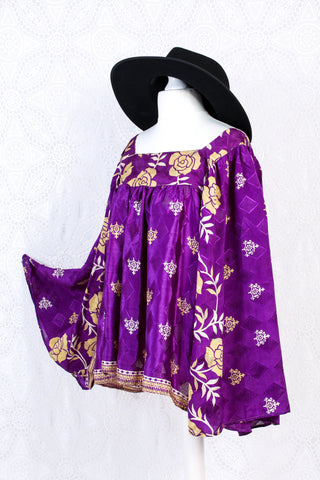 Honey Kimono Top - Vintage Indian Sari - Deep Purple & Gold Floral (free size)