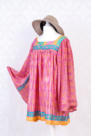 Honey Mini Dress - Vintage Indian Sari - Pink, Tangerine & Turquoise Floral (free size)