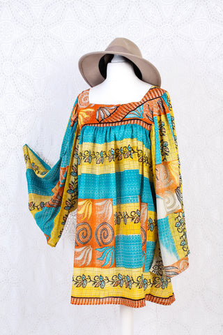 Honey Mini Dress - Vintage Indian Sari - Sunshine, Sea & Fire (free size)