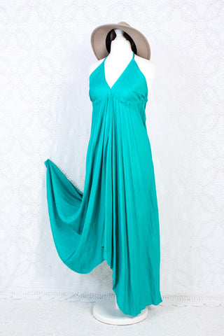 Medusa Midi Halter Dress - Plain Block Colour Rayon - Teal Blue/Green (Free Size)