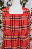 Vintage 70s Handmade Red Tartan Dress - Size XS