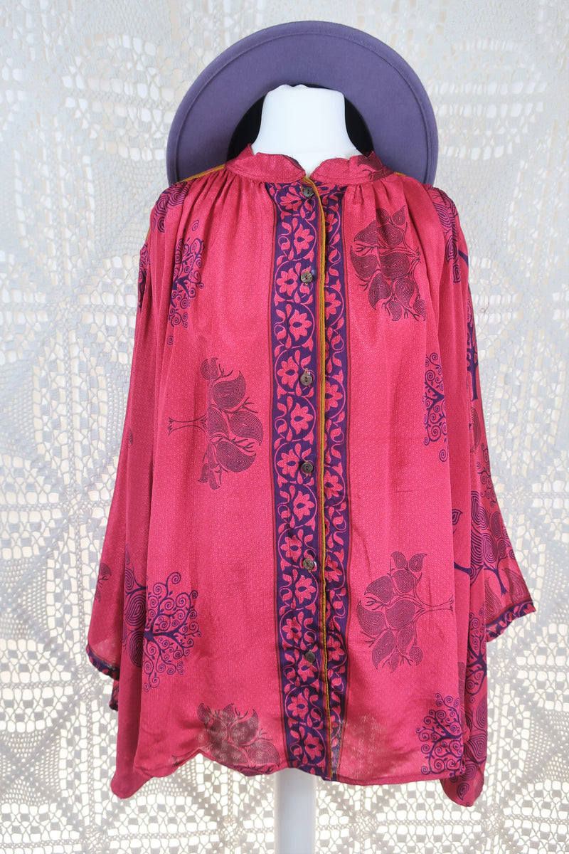 The Ophelia Blouse - Vintage Sari - Hot Pink & Purple (free size)