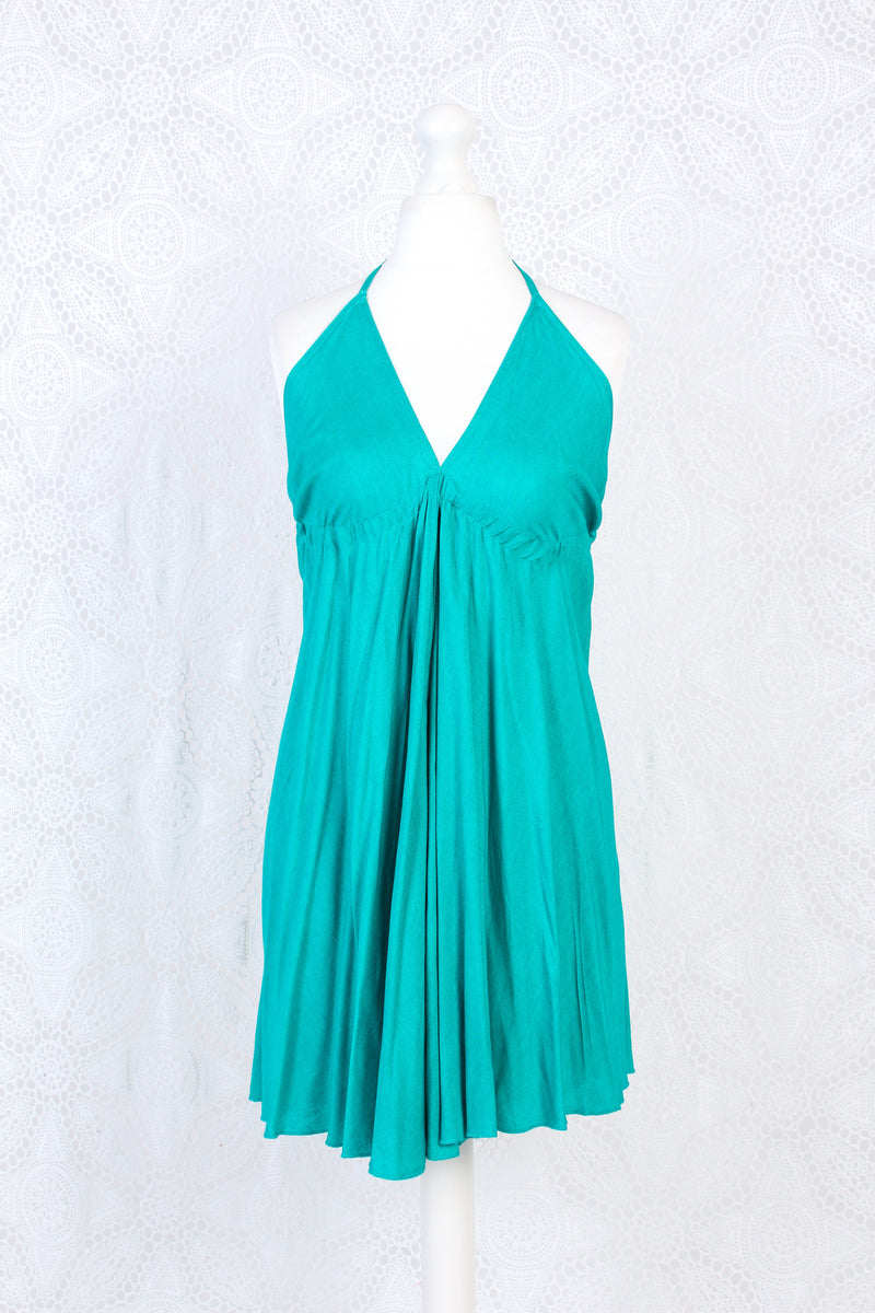 Medusa Short Halter Dress - Plain Block Colour Rayon - Teal Blue/Green (Free Size)