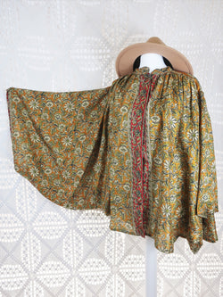 The Ophelia Blouse - Vintage Sari - Ginger, Cream & Pear Floral (free size)