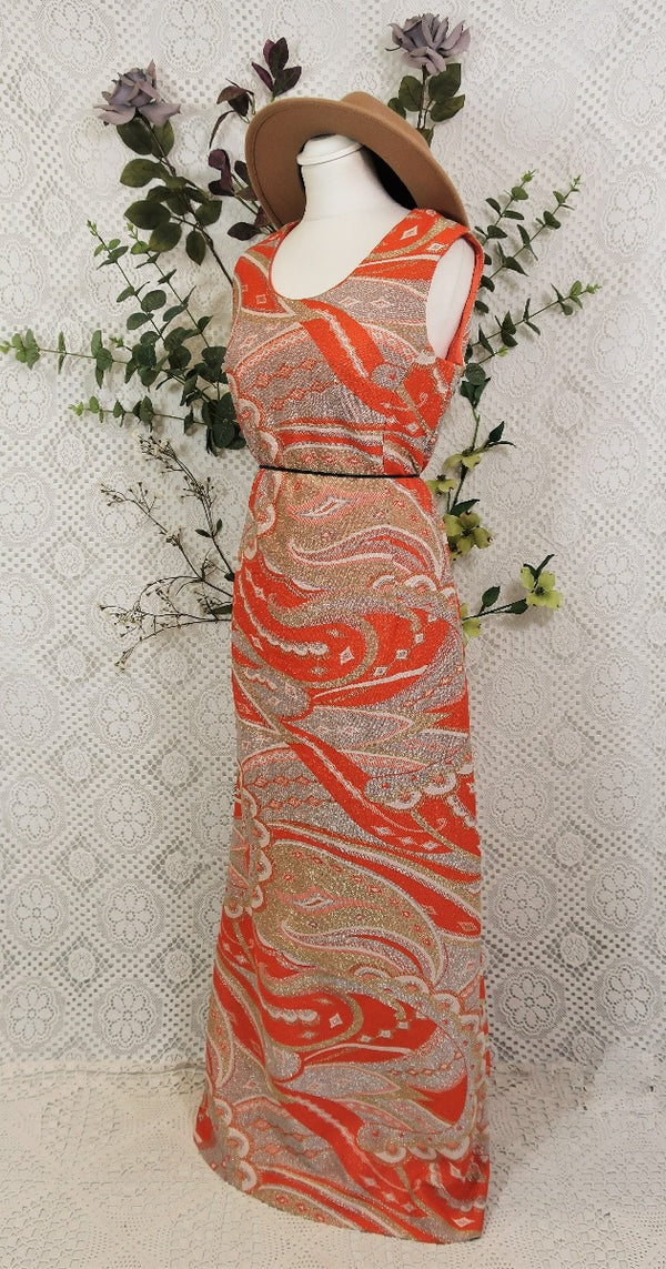 Vintage Maxi Dress - Sparkly Orange Gold & Silver - Size M