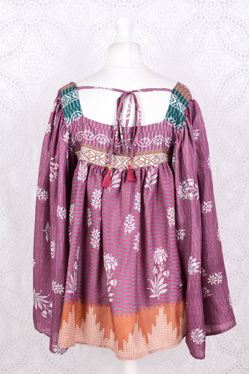 Honey Top - Vintage Indian Sari - Mauve & Ochre Bold Floral - Free Size