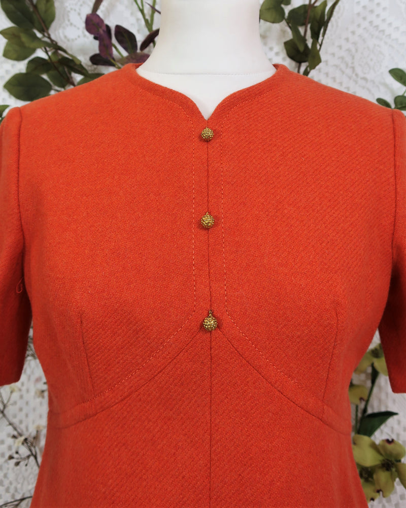 Vintage 70s Woolen Mini Dress - Burnt Orange - Size XS/S