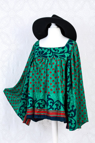 Honey Kimono Top - Vintage Indian Sari - Emerald & Ruby Shimmer (free size)