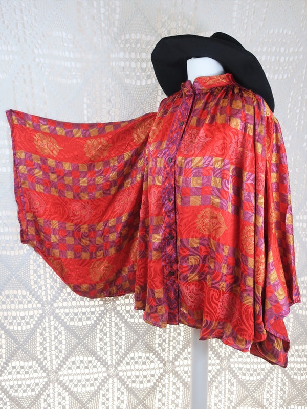 The Ophelia Blouse - Vintage Sari - Crimson Purple & Gold Shimmer (free size)