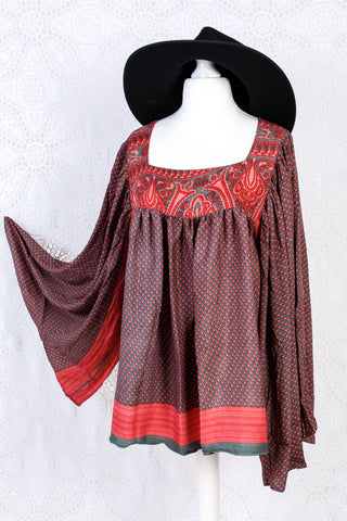 Honey Kimono Top - Vintage Indian Sari - Pewter & Strawberry (free size)