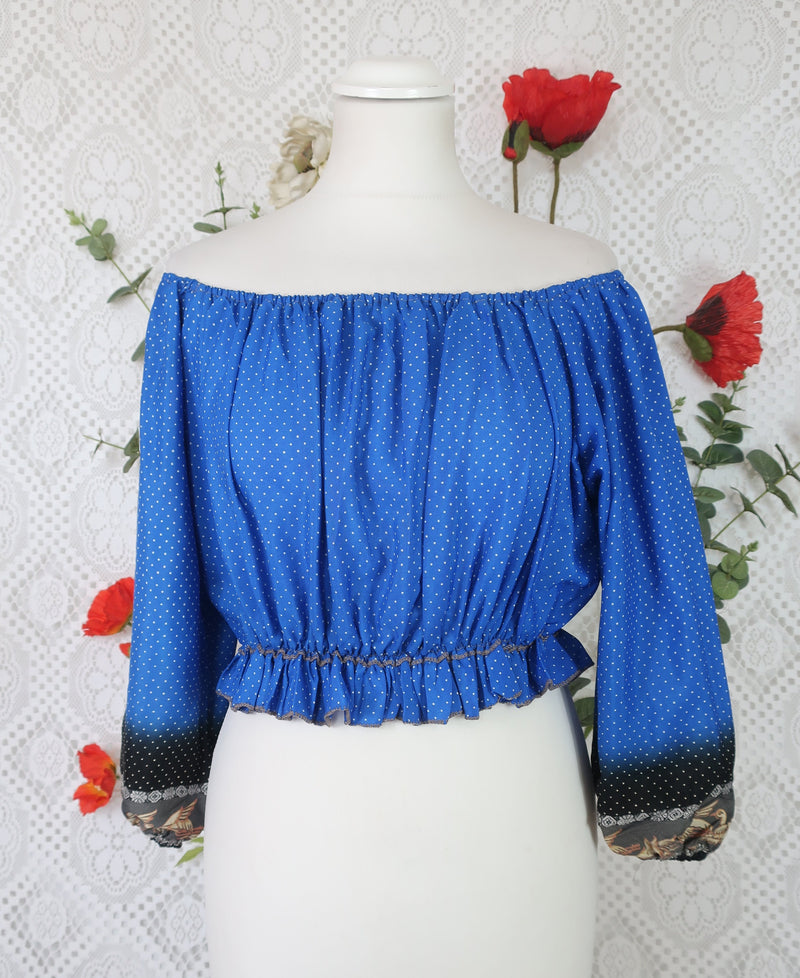 Gypsy Crop Top (free size) Royal Blue Micro Dot Vintage Indian Sari