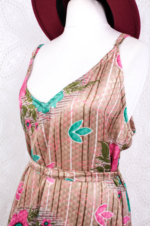Jamie Dress - Indian Sari Slip Dress - Tan, Jade & Neon Pink Floral - Size M/L