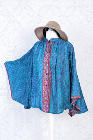 The Ophelia Blouse - Vintage Sari - Sky Blue & Hot Pink Floral (free size)