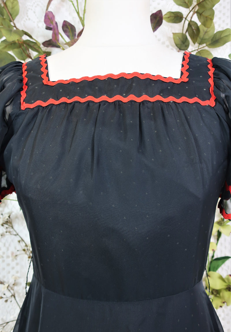 70's Vintage Dress - Midnight Black & Red - Size S