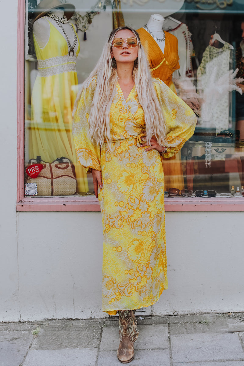 Lola Long Wrap Dress - Vintage Indian Sari - Sheer Sunshine Yellow Floral (M/L)