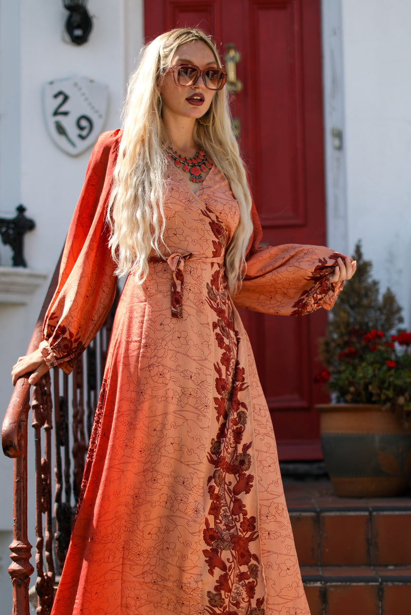 Lola Long Wrap Dress - Vintage Indian Sari - Strawberry Sunset Floral (S/M)