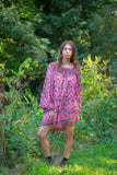 Honey Mini Dress - Vintage Indian Sari -Graphite Grey & Soft Pink Floral (free size)