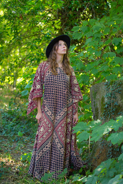 Vintage Cotton 70s Bohemian Adini Dress - Burgundy, Cream & Indigo Floral - Free Size