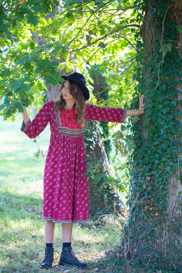 Vintage Bohemian Dress - Raspberry with Embroidered Details - Size S