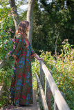 Vintage Maxi Dress - Deep Green Floral with Red Velvet & Embroidery Detail - Size S