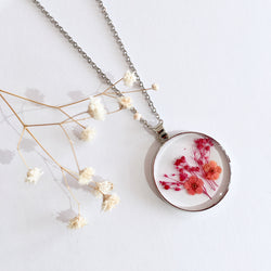 Round Dried Flower Necklace - Small Orange & Crimson
