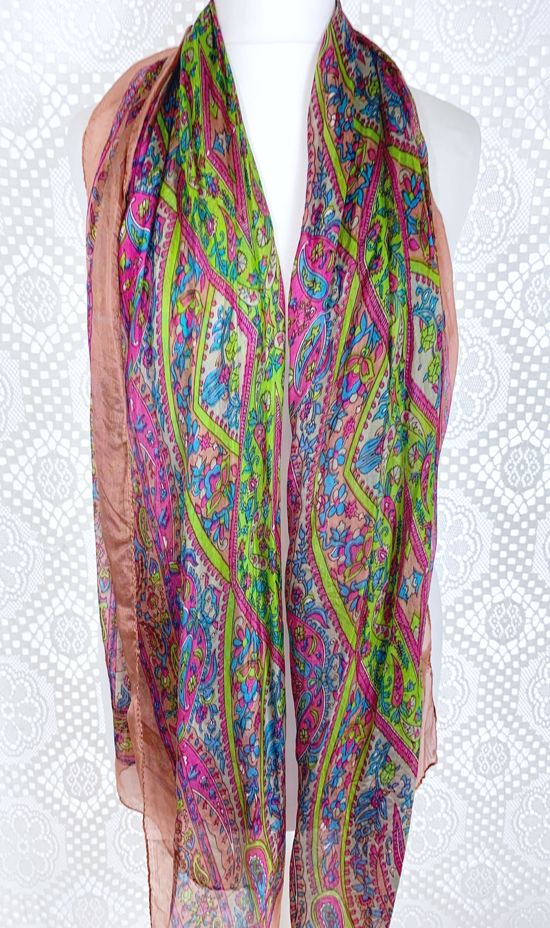 Pure Silk Indian Scarf - Dusky Pink