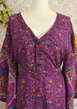 Purple Peacock Floral Maxi Button Down Dress/Kimono Size S/M