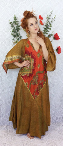 Goddess Dress - Vintage Pure Silk Indian Kaftan - Iridescent Fiery Green & Orange - Free Size M/L