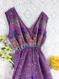 SALE - Indian Peacock Sleeveless Jumpsuit - Purple / Blue - Size XL