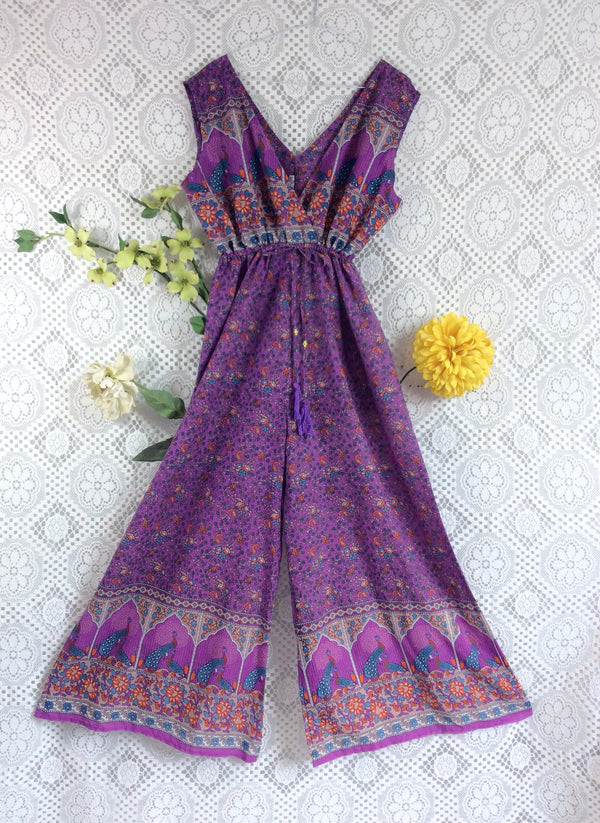 SALE - Indian Peacock Sleeveless Jumpsuit - Purple / Blue - Size S/M