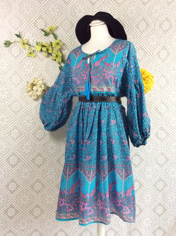 Blue / Pink / Lilac Peacock Paisley Floral - Short Smock Dress - Size S/M