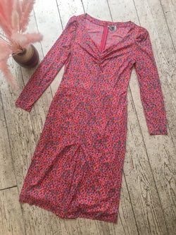 Vintage Fitted Dress - Magenta Ditsy Floral - Size M