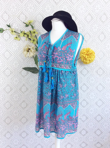 SALE - Aqua / Lilac Peacock Sleeveless Cotton Top / Mini Smock Dress - Size S/M