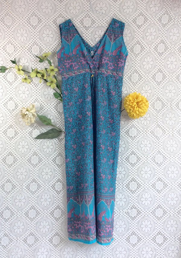 SALE - Indian Peacock Sleeveless Jumpsuit - Aqua Blue / Grey / Pink- Size XL