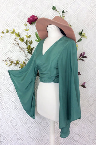 Block Colour Gemini Bell Sleeve Top - Mint Green Silk Mix - M/L