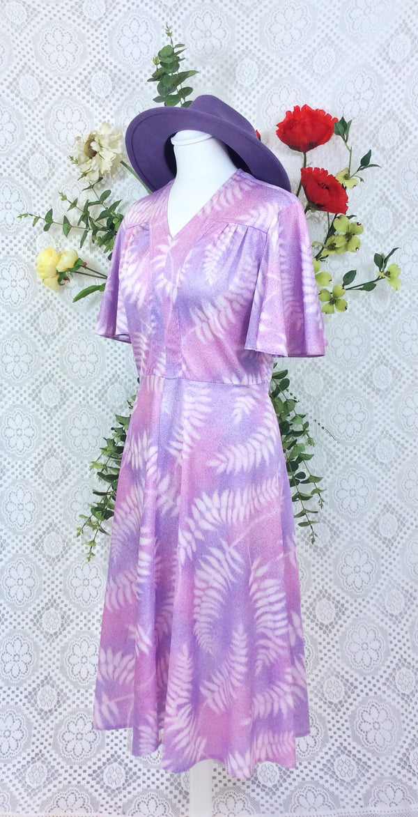 Vintage 70s Day Dress - Lilac Mauve Pink Ferns - Size XS/S