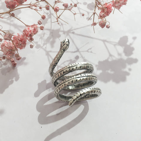 Silver Plated Serpent Coil Ring