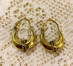 Tiny Gold Brass Hoops Earrings