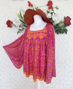 Honey Top - Vintage Indian Sari - Magenta & Apricot Floral Paisley (free size)