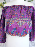 Purple Paisley Peacock Indian Cotton Gypsy Top (Free Size)