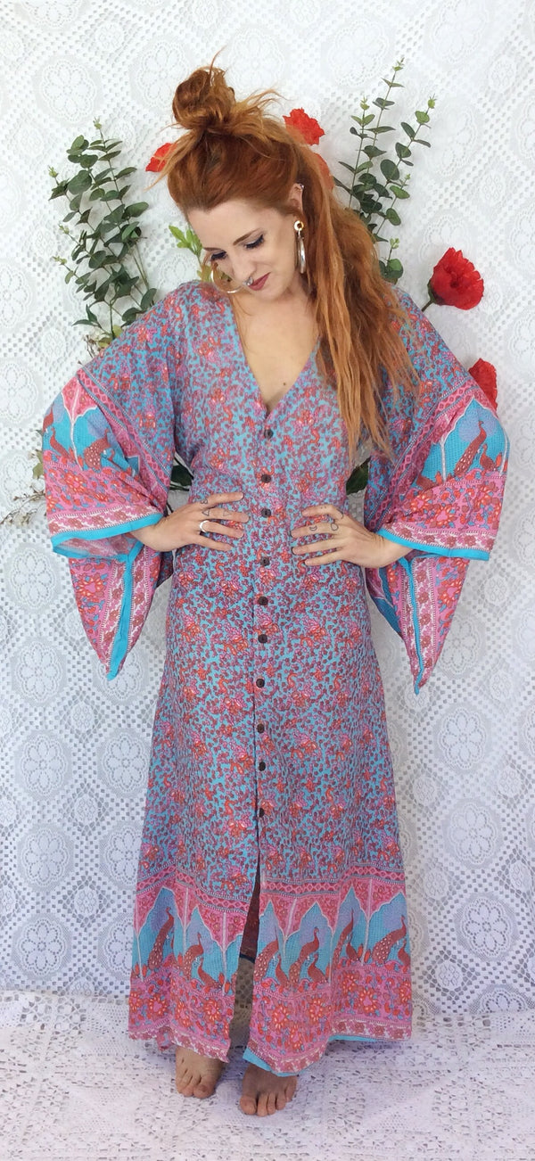 Aqua/Pink/Coral Peacock Paisley Cotton - Maxi Button Down Dress/Kimono - M/L