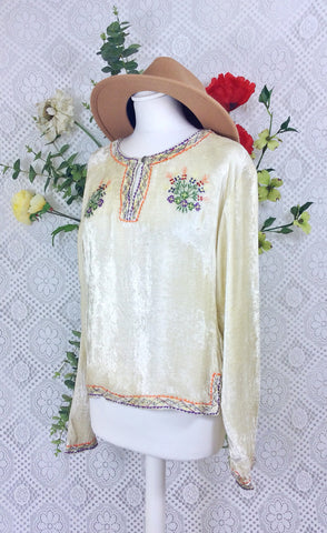 Vintage Velvet Embroidered Long Sleeve Top - Ivory Pearl - Size S/M