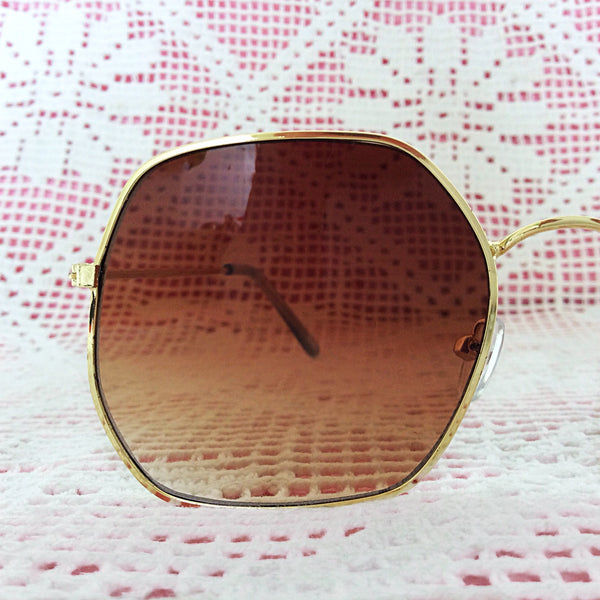 Oversized Gold Hexagonal Sunglasses