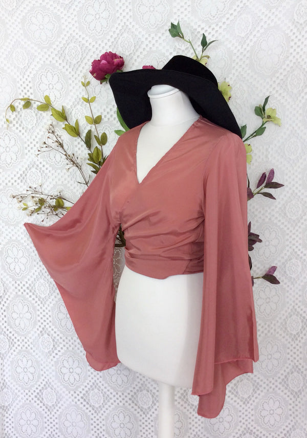 Block Colour Gemini Bell Sleeve Top - Dusky Rose Pink Silk Mix - M/L