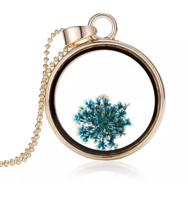 Boho dried flower pendant necklace - Blue