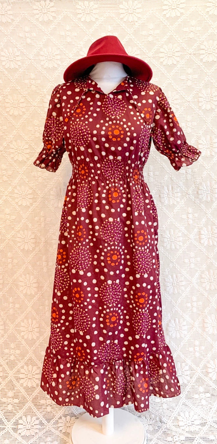 Vintage Plum Cotton Dress - Size - S - M